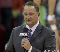MADISON, WI - JANUARY 17: ESPN broadcaster Dan Dakich talks during a media time out with Andy North during an NCAA Basketball game between the Michigan Wolverines and the Wisconsin Badgers at the Kohl Center in Madison, WI on January 17th, 2017. Wisconsin defeats Michigan 68-64. (Photo by Dan Sanger/Icon Sportswire via Getty Images)
